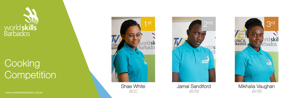 Winners of Culinary Arts in WorldSkills Barbados Competition 2018