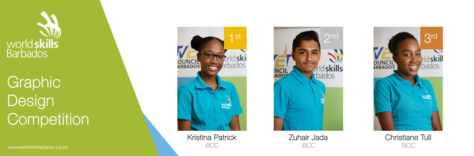Winners of Graphic Design in WorldSkills Barbados Competition 2018