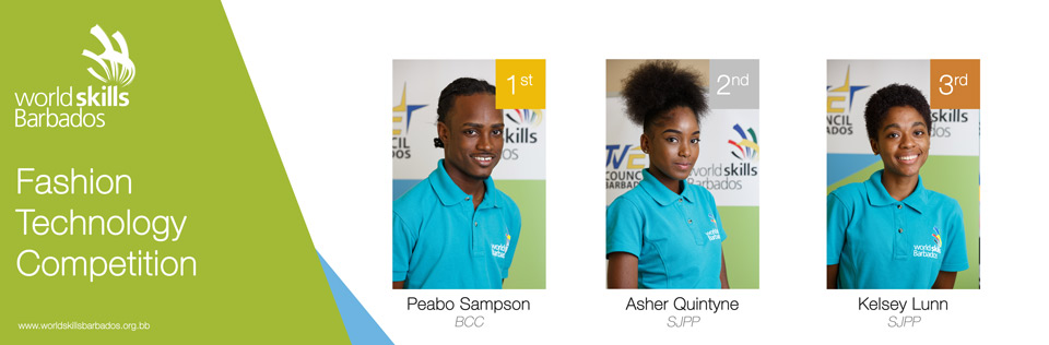 Winners of Fashion Technology in WorldSkills Barbados Competition 2018