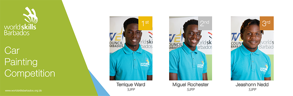 Winners of Car Painting in WorldSkills Barbados Competition 2018