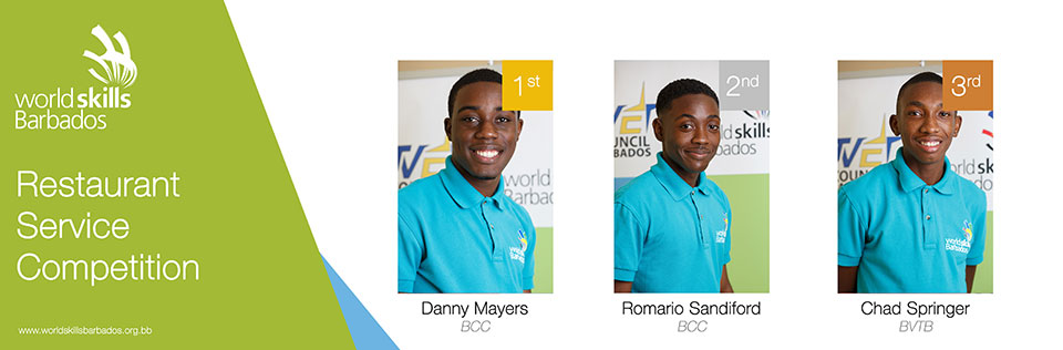 Winners of Restaurant Service in WorldSkills Barbados Competition 2018