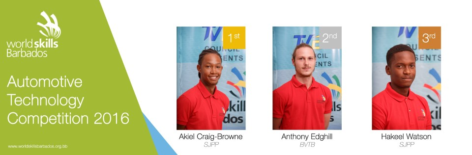 Winners of Automotive Technologyin WorldSkills Barbados Competition 2016