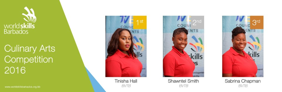 Winners of Culinary Arts in WorldSkills Barbados Competition 2016
