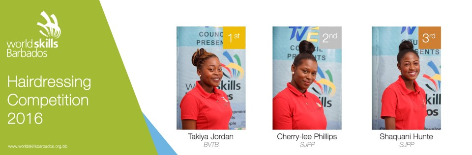 Winners of Hairdressing in WorldSkills Barbados Competition 2016